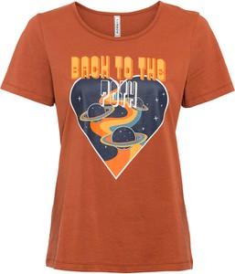 Pomarańczowy t-shirt bonprix z krótkim rękawem z okrągłym dekoltem