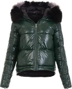 Zielona kurtka fasoni.pl krótka w stylu casual