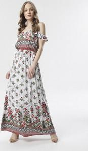 Sukienka born2be w stylu boho z okrągłym dekoltem z krótkim rękawem