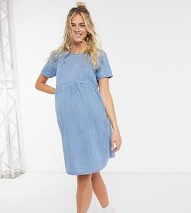 ASOS DESIGN Maternity – Niebieska marszczona sukienka z miękkiego denimu-Niebieski