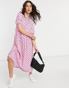 Różowa sukienka Asos z krótkim rękawem midi koszulowa