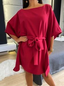 Czerwona sukienka ModnaKiecka.pl oversize mini