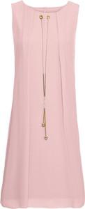 Różowa sukienka bonprix BODYFLIRT boutique bez rękawów z okrągłym dekoltem