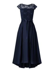 Granatowa sukienka Swing z okrągłym dekoltem midi z satyny