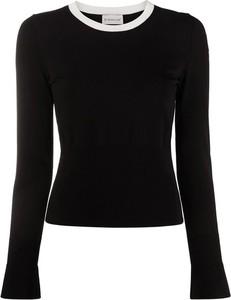 Czarna bluzka Moncler z okrągłym dekoltem w stylu casual