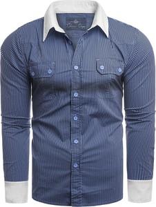 Niebieska koszula Risardi z długim rękawem z klasycznym kołnierzykiem w stylu casual