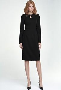 Czarna sukienka Merg z okrągłym dekoltem z długim rękawem midi
