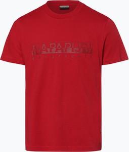 Czerwony t-shirt Napapijri z krótkim rękawem w młodzieżowym stylu