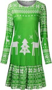 Zielona sukienka Cikelly z długim rękawem mini z okrągłym dekoltem