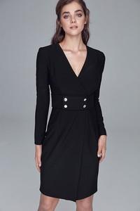 Czarna sukienka Nife z długim rękawem mini z dekoltem w kształcie litery v