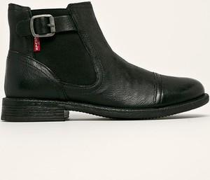 Czarne botki Levis z płaską podeszwą w stylu casual