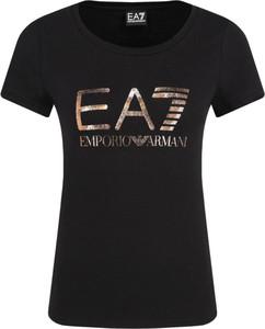 Czarny t-shirt EA7 Emporio Armani w młodzieżowym stylu