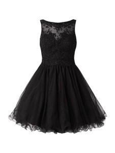 Czarna sukienka Laona mini rozkloszowana