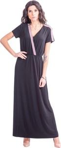 Czarna sukienka Liu-Jo maxi z krótkim rękawem