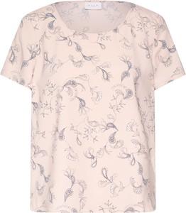 Różowa bluzka Vila z okrągłym dekoltem z dżerseju z krótkim rękawem