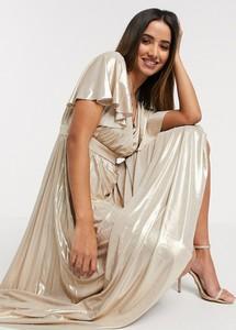 Złota sukienka Goddiva z dekoltem w kształcie litery v