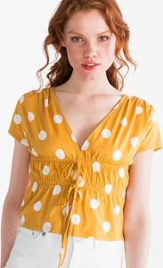 Żółty t-shirt CLOCKHOUSE z krótkim rękawem z bawełny