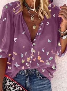 Fioletowa bluzka Cikelly z dekoltem w kształcie litery v w stylu casual