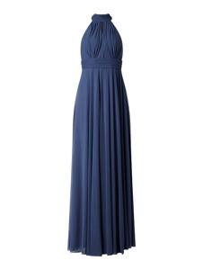 Niebieska sukienka Troyden Collection maxi bez rękawów z dekoltem halter