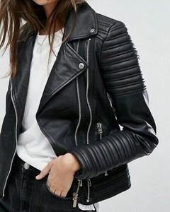 Czarna kurtka Kendallme krótka w rockowym stylu ze skóry