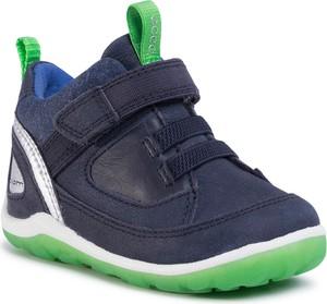 Granatowe buty dziecięce zimowe Ecco na rzepy z nubuku