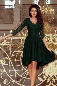 Zielona sukienka NUMOCO z długim rękawem z dekoltem w kształcie litery v