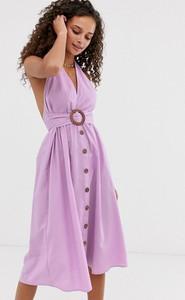 Fioletowa sukienka Asos Design na ramiączkach z lnu z dekoltem halter