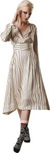 Sukienka Alessia Santi z dekoltem w kształcie litery v midi z długim rękawem