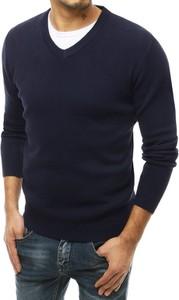 Granatowy sweter Dstreet w stylu casual z dzianiny
