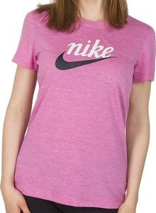 Bluzka Nike w sportowym stylu z okrągłym dekoltem z krótkim rękawem