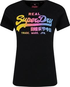 Czarny t-shirt Superdry z krótkim rękawem z okrągłym dekoltem w młodzieżowym stylu
