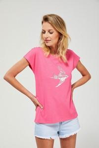 T-shirt Moodo z okrągłym dekoltem z bawełny w stylu casual