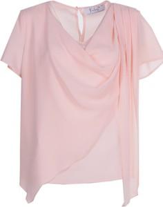Różowa bluzka Fokus z jeansu z dekoltem woda