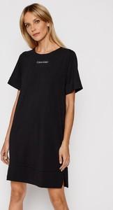 Czarna sukienka Calvin Klein Underwear prosta z bawełny z okrągłym dekoltem