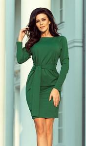 Zielona sukienka NUMOCO z dekoltem w łódkę z długim rękawem