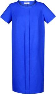 Niebieska sukienka Fokus z krótkim rękawem z lnu
