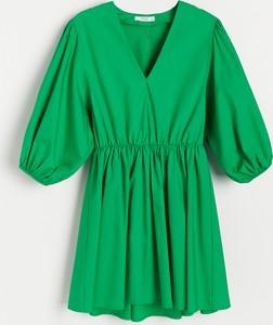 Sukienka Reserved z długim rękawem z bawełny mini