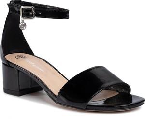 Czarne sandały Solo Femme na obcasie na średnim obcasie z klamrami