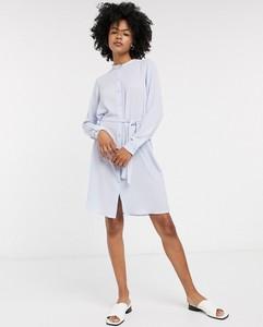 Niebieska sukienka Vero Moda z długim rękawem mini z dżerseju