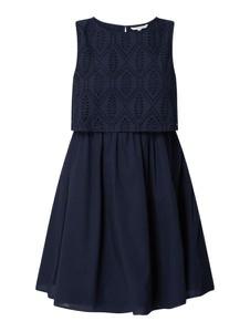 Granatowa sukienka Tom Tailor Denim rozkloszowana mini z bawełny