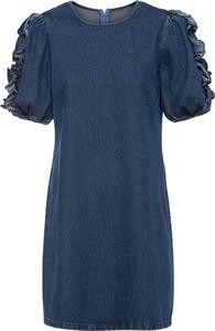 Niebieska sukienka bonprix z bawełny z okrągłym dekoltem mini