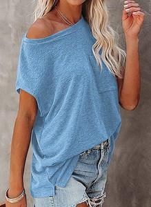 Niebieska bluzka Sandbella z okrągłym dekoltem z krótkim rękawem