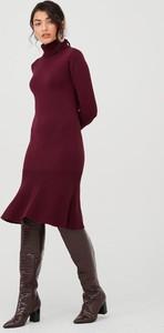 Czerwona sukienka V by Very z dzianiny z długim rękawem