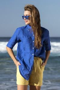 Niebieska koszula Nessi Sportswear z lnu