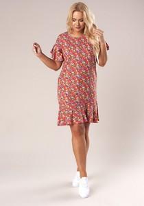 Sukienka Ptakmoda.com z okrągłym dekoltem z krótkim rękawem mini