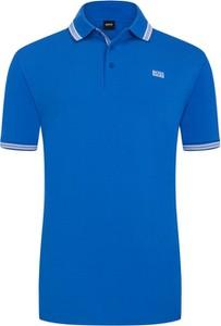 Niebieska koszulka polo Hugo Boss z krótkim rękawem z bawełny