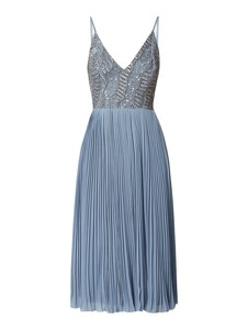 Niebieska sukienka Lace & Beads z dekoltem w kształcie litery v maxi z szyfonu