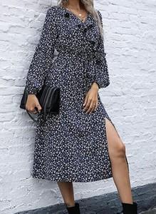 Sukienka Cikelly z dekoltem w kształcie litery v midi w stylu boho