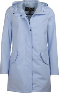 Niebieski płaszcz Barbour z tkaniny