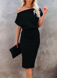 Czarna sukienka Cikelly z krótkim rękawem